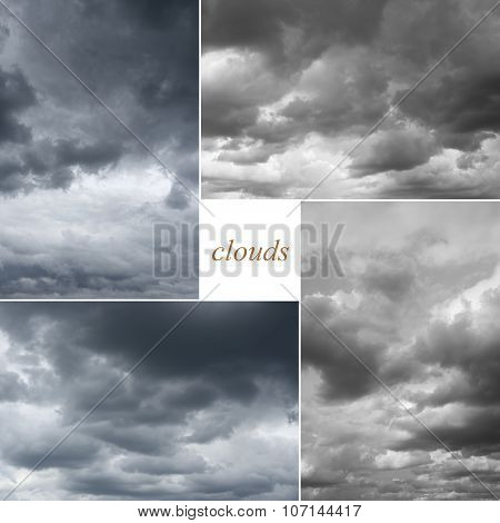 Four image of cloudy sky.