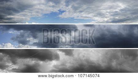 Three panoramas of cloudy sky