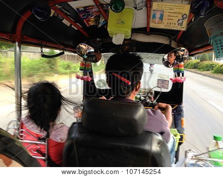 Chiang Mai - April 20, 2015: Dynamic Perspective And Long Time Exposure Inside A Tuk Tuk Vehicle In