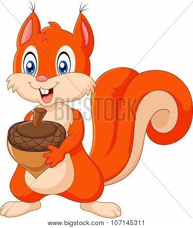 Cartoon squirrel holding pinecone isolated on white background