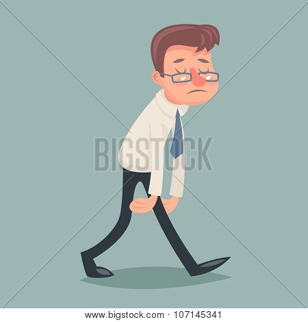Vintage Businessman Walk Sad Tired Weary Character Icon on Stylish Background Retro Cartoon Design V