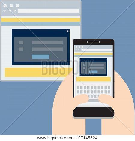 Mobile website on display