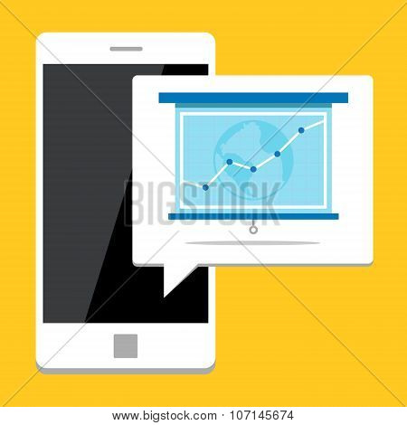 Showing bussiness growth on mobile phone