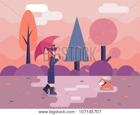 Autumn walk with dog puddles umbrella nature park concept flat design landscape background template