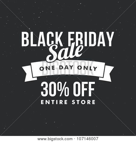 Black Friday sale ad template. Retro style vector design.