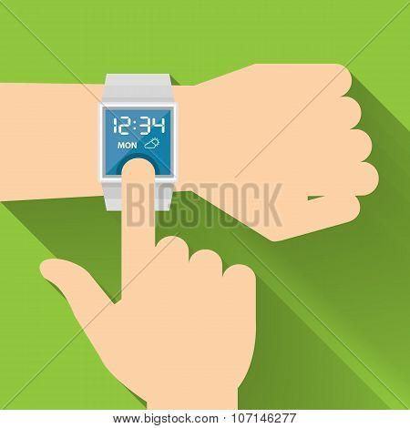 Finge touching Smart Watch, Vector Flat design