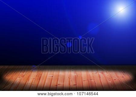 Light on wooden floor in empty room