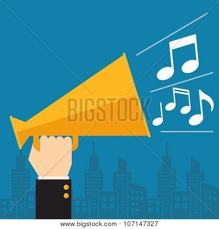 Megaphone with musical notes