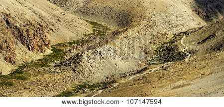 Panoramic Aerial View Of Himalayan Mountain Landscape, Jammu And Kashmir, Leh, Ladakh, India