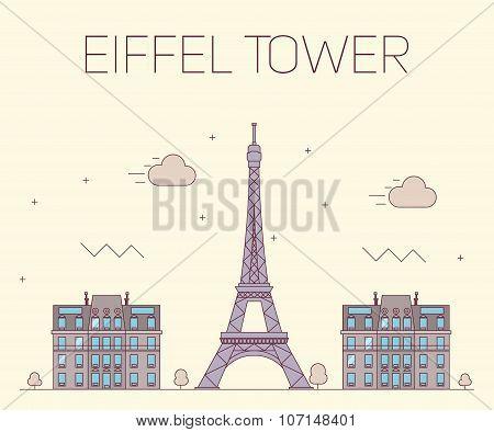 Eiffel tower in Paris. Vector illustration on yellow