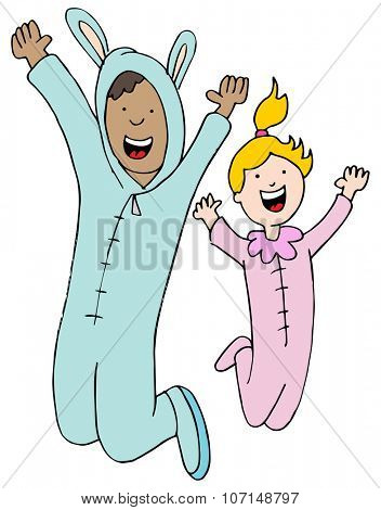 An image of a man and woman wearing a pajama jumpsuit.