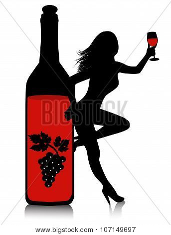 wine bottle and glass with a female silhouette