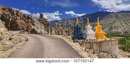 Panorama Of Three Buddhist Stupas At Leh, Ladakh, Jammu And Kashmir, India