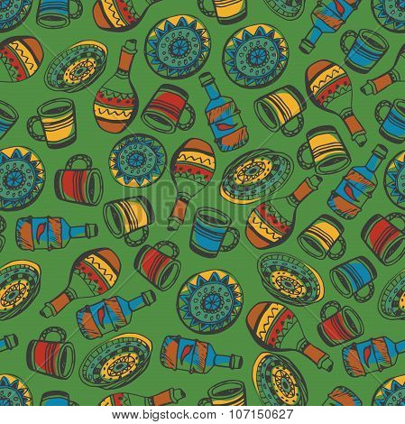 Seamless pattern of national motifs