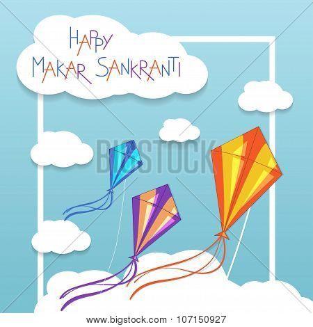 Happy Makar Sankranti card with kites