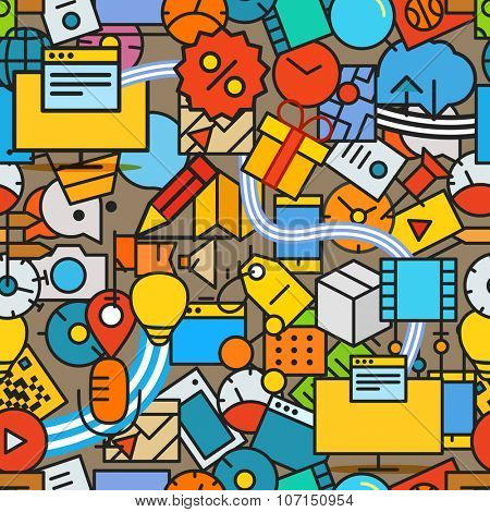 Different technology color icons seamless pattern. Line art colorful background