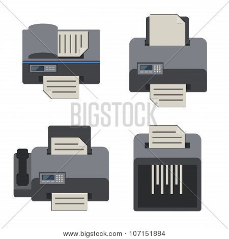 Electronics and office device, Flat icons set.