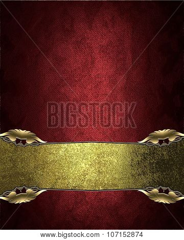 Red Velvet Texture With A Rich Golden Nameplate. Element For Design. Template For Design. Copy Space