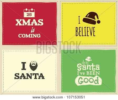 Christmas unique funny sign, quote background design set for kids - xmas is coming. Nice bright pale