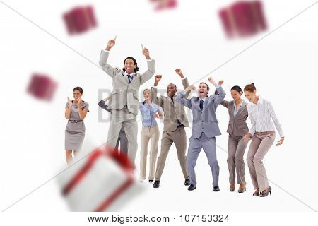 Very enthusiast business people jumping and raising their arms against white and red gift box