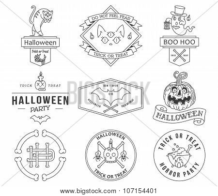 Happy Halloween Badges Black On White