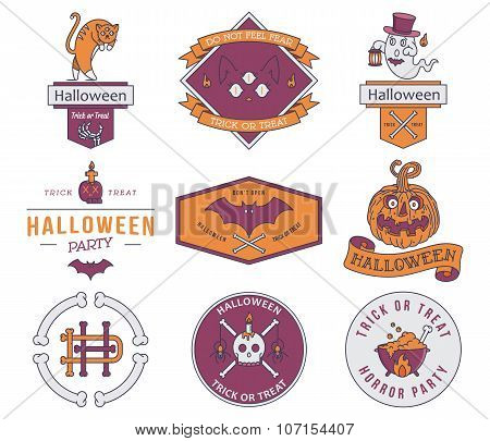 Happy Halloween Badges Colored
