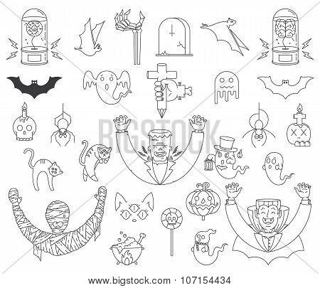 Happy Halloween Elements Black On White