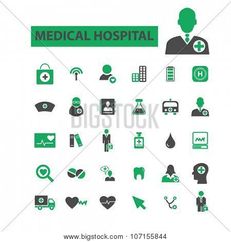 medical hospital, clinic icons, signs vector concept set for infographics, mobile, website, application