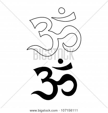 Om Symbol. Aum, Ohm Hand Drawn Vector Tattoo Art.