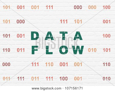 Data concept: Data Flow on wall background