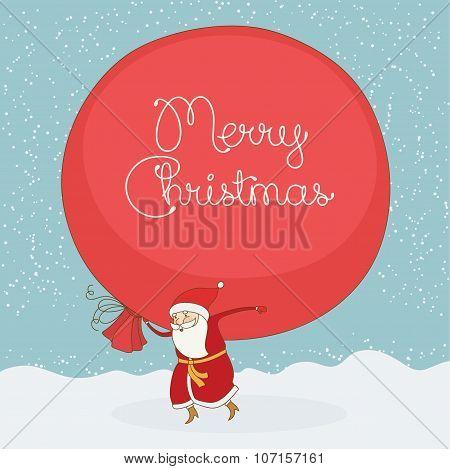 Santa Claus Carries The Large Gift Sack. Vector Christmas Postcard