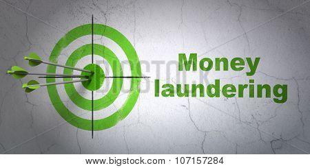 Banking concept: target and Money Laundering on wall background