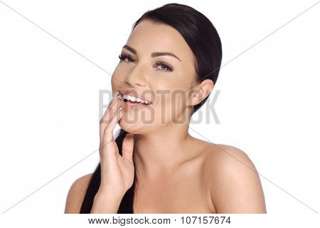 Happy Smiling Brunette Girl Posing on White Background  She Has Bare Shoulders and Ponytail Haircut