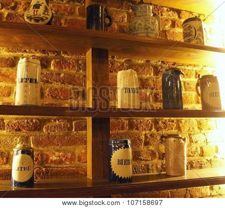 Save Download Preview Vintage ceramic mugs for the beer