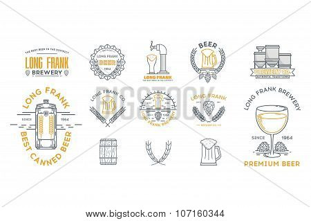 Vintage Illustration Of Beer Logo Templates. Stock Vector.