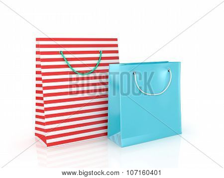 Colorful Paper Bags For Shopping On A White Background.