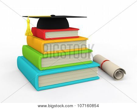 3d books and graduation hat