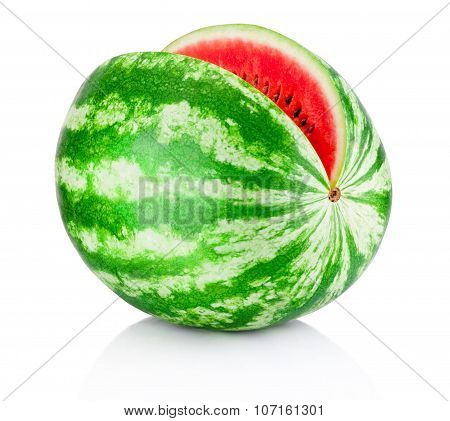 Ripe Watermelon Sliced Isolated On White Background