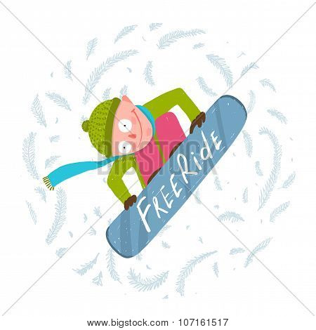 Snowboard Funky Free Rider Jump Fun Cartoon