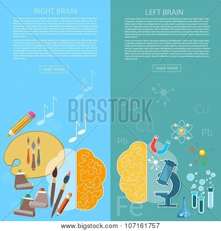 Brain Power Of The Mind Left And Right Hemisphere Creativity Art And Analytical Thinking banners