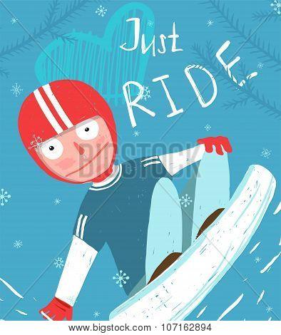 Snowboard Funny Free Rider in Helmet Jump Fun Poster Design