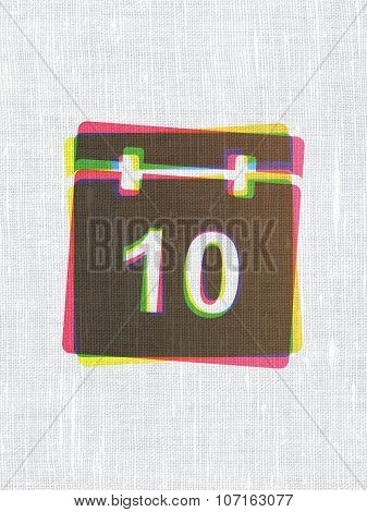 Timeline concept: Calendar on fabric texture background