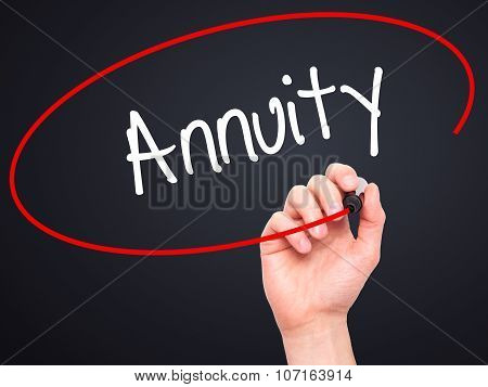 Man Hand writing Annuity with black marker on visual screen.