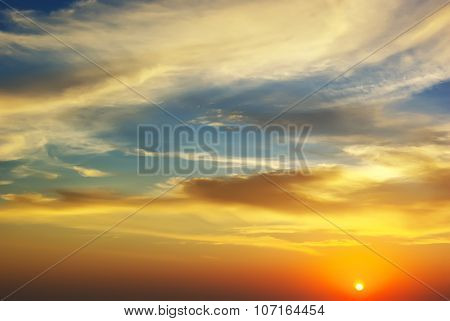 beautiful sunset with clouds.