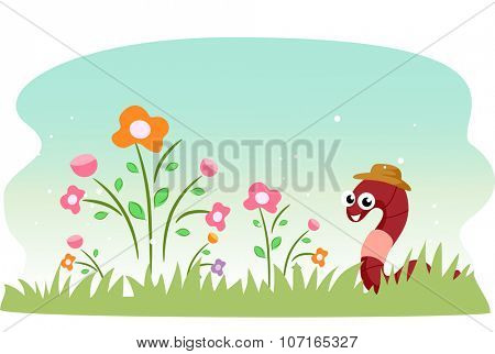 Illustration of a Cute Earthworm in a Garden Filled with Flowers