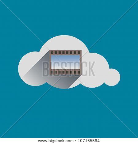 Film Sign In Cloud Flat Design Icon