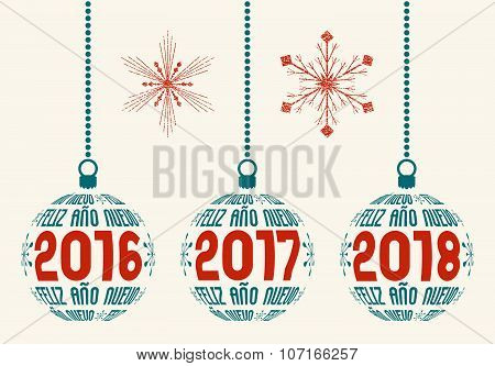 Spanish New Year graphic design elements 2016 - 2018