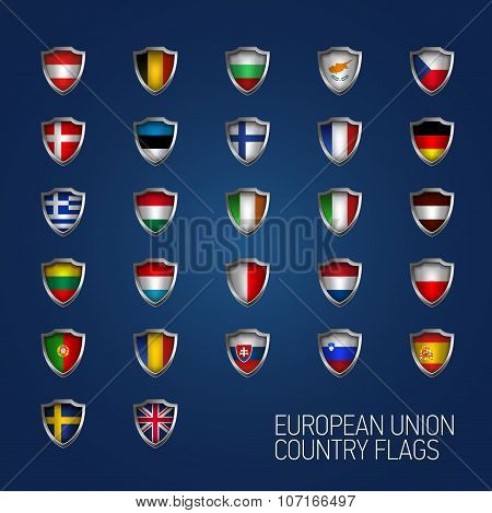 European Union States Full Flags. Vector Country Shields