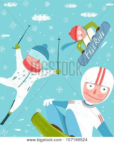 Snowboarding and Skiing Funny Free Rider Jump Fun Poster Design