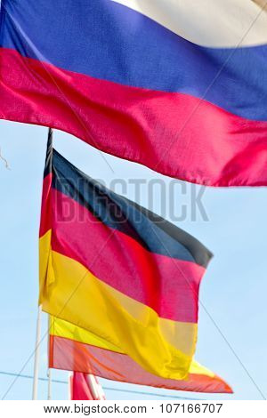 World Waving Flag In The Blue Sky  And Spain